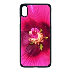 Deep Pink And Crimson Hibiscus Flower Macro Apple Iphone Xs Max Seamless Case (black)