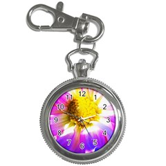 Purple, Pink And White Dahlia With A Bright Yellow Center Key Chain Watches
