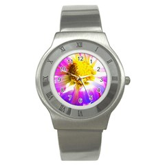 Purple, Pink And White Dahlia With A Bright Yellow Center Stainless Steel Watch by myrubiogarden