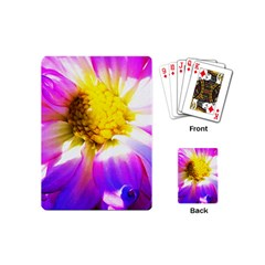 Purple, Pink And White Dahlia With A Bright Yellow Center Playing Cards (mini)