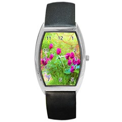 Impressionistic Purple Peonies With Green Hostas Barrel Style Metal Watch by myrubiogarden