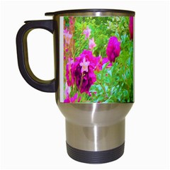 Impressionistic Purple Peonies With Green Hostas Travel Mugs (white)
