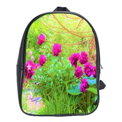Impressionistic Purple Peonies With Green Hostas School Bag (xl)