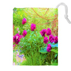 Impressionistic Purple Peonies With Green Hostas Drawstring Pouch (xxl)