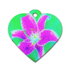 Hot Pink Stargazer Lily On Turquoise Blue And Green Dog Tag Heart (one Side)