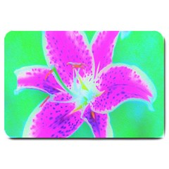 Hot Pink Stargazer Lily On Turquoise Blue And Green Large Doormat