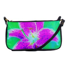 Hot Pink Stargazer Lily On Turquoise Blue And Green Shoulder Clutch Bag