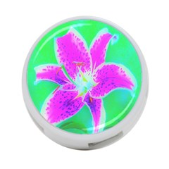 Hot Pink Stargazer Lily On Turquoise Blue And Green 4 Port Usb Hub (two Sides)