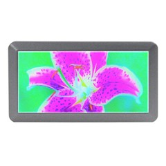 Hot Pink Stargazer Lily On Turquoise Blue And Green Memory Card Reader (mini)