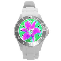 Hot Pink Stargazer Lily On Turquoise Blue And Green Round Plastic Sport Watch (l)