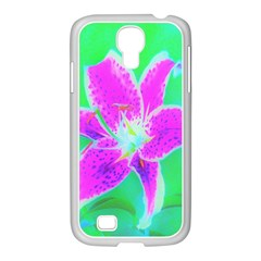 Hot Pink Stargazer Lily On Turquoise Blue And Green Samsung Galaxy S4 I9500/ I9505 Case (white)