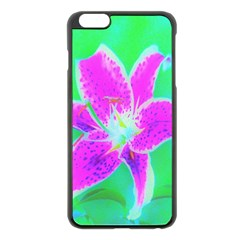 Hot Pink Stargazer Lily On Turquoise Blue And Green Apple Iphone 6 Plus/6s Plus Black Enamel Case