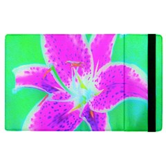 Hot Pink Stargazer Lily On Turquoise Blue And Green Apple Ipad Pro 9 7   Flip Case