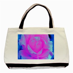 Beautiful Pastel Pink Rose With Blue Background Basic Tote Bag by myrubiogarden