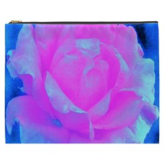 Beautiful Pastel Pink Rose With Blue Background Cosmetic Bag (xxxl)