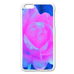 Beautiful Pastel Pink Rose With Blue Background Apple Iphone 6 Plus/6s Plus Enamel White Case
