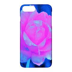 Beautiful Pastel Pink Rose With Blue Background Apple Iphone 7 Plus Hardshell Case by myrubiogarden
