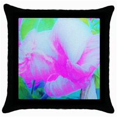 Abstract Pink Hibiscus Bloom With Flower Power Throw Pillow Case (black) by myrubiogarden