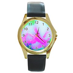 Abstract Pink Hibiscus Bloom With Flower Power Round Gold Metal Watch by myrubiogarden