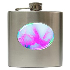 Abstract Pink Hibiscus Bloom With Flower Power Hip Flask (6 Oz) by myrubiogarden