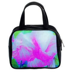 Abstract Pink Hibiscus Bloom With Flower Power Classic Handbag (two Sides) by myrubiogarden