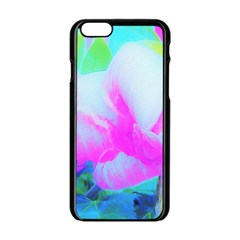Abstract Pink Hibiscus Bloom With Flower Power Apple Iphone 6/6s Black Enamel Case
