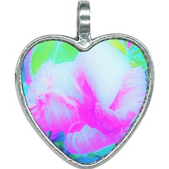Abstract Pink Hibiscus Bloom With Flower Power Heart Necklace