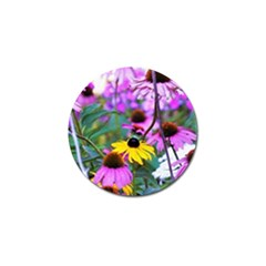 Yellow Flowers In The Purple Coneflower Garden Golf Ball Marker
