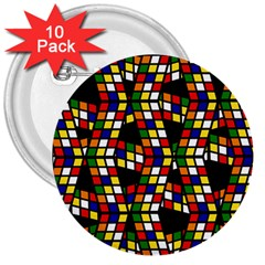 Graphic Pattern Rubiks Cube Cube 3  Buttons (10 Pack)