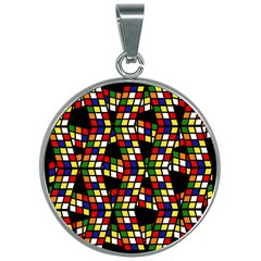 Graphic Pattern Rubiks Cube Cube 30mm Round Necklace by Pakrebo