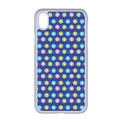 Deep Blue Hemp Pattern Flowers Apple Iphone Xr Seamless Case (white)