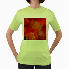 Abstract Background Texture Women s Green T Shirt