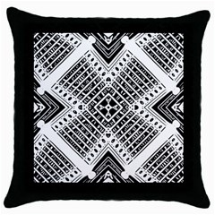 Pattern Tile Repeating Geometric Throw Pillow Case (black)