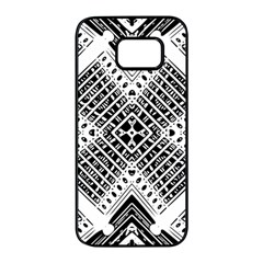 Pattern Tile Repeating Geometric Samsung Galaxy S7 Edge Black Seamless Case by Pakrebo