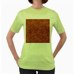 Autumn Leaves Repeat Pattern Women s Green T Shirt