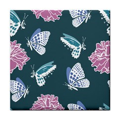 Butterfly Pattern Dead Death Rose Tile Coasters