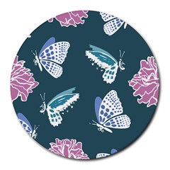 Butterfly Pattern Dead Death Rose Round Mousepads