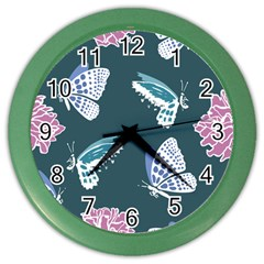 Butterfly Pattern Dead Death Rose Color Wall Clock