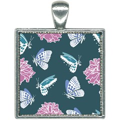 Butterfly Pattern Dead Death Rose Square Necklace