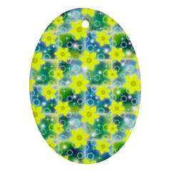 Narcissus Yellow Flowers Winter Oval Ornament (two Sides)