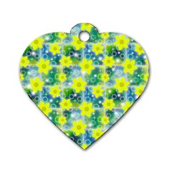 Narcissus Yellow Flowers Winter Dog Tag Heart (two Sides)