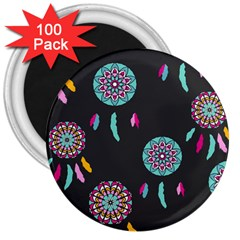 Dreamcatcher Seamless American 3  Magnets (100 Pack) by Pakrebo