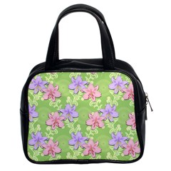Lily Flowers Green Plant Natural Classic Handbag (two Sides)