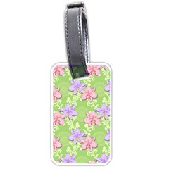 Lily Flowers Green Plant Natural Luggage Tags (one Side)