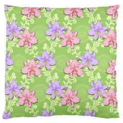 Lily Flowers Green Plant Natural Large Flano Cushion Case (two Sides) by Pakrebo