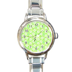 Zephyranthes Candida White Flowers Round Italian Charm Watch by Pakrebo