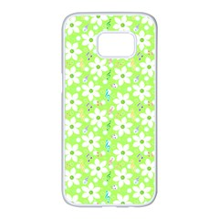 Zephyranthes Candida White Flowers Samsung Galaxy S7 Edge White Seamless Case by Pakrebo