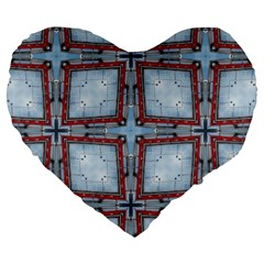 Pattern Cross Geometric Shape Large 19  Premium Heart Shape Cushions