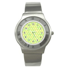 Traditional Patterns Hemp Pattern Green Stainless Steel Watch