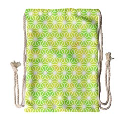Traditional Patterns Hemp Pattern Green Drawstring Bag (large)